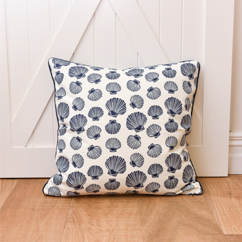 Shell Euro Cushion 60x60cm - White & Navy  Homewares nz