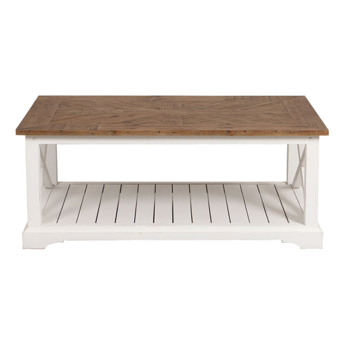 Provincial Coffee Table With Wood Top - White  Furniture nz