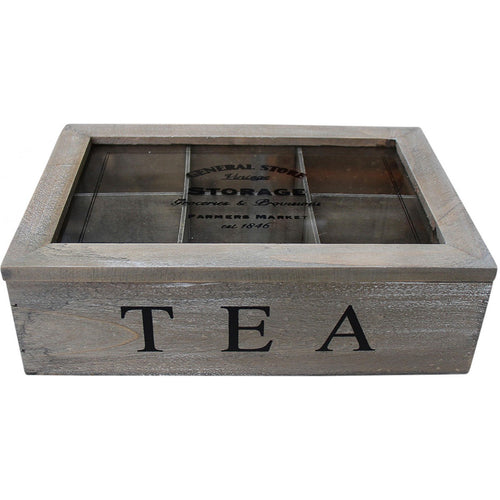 White Washed 6 Slot Tea Box