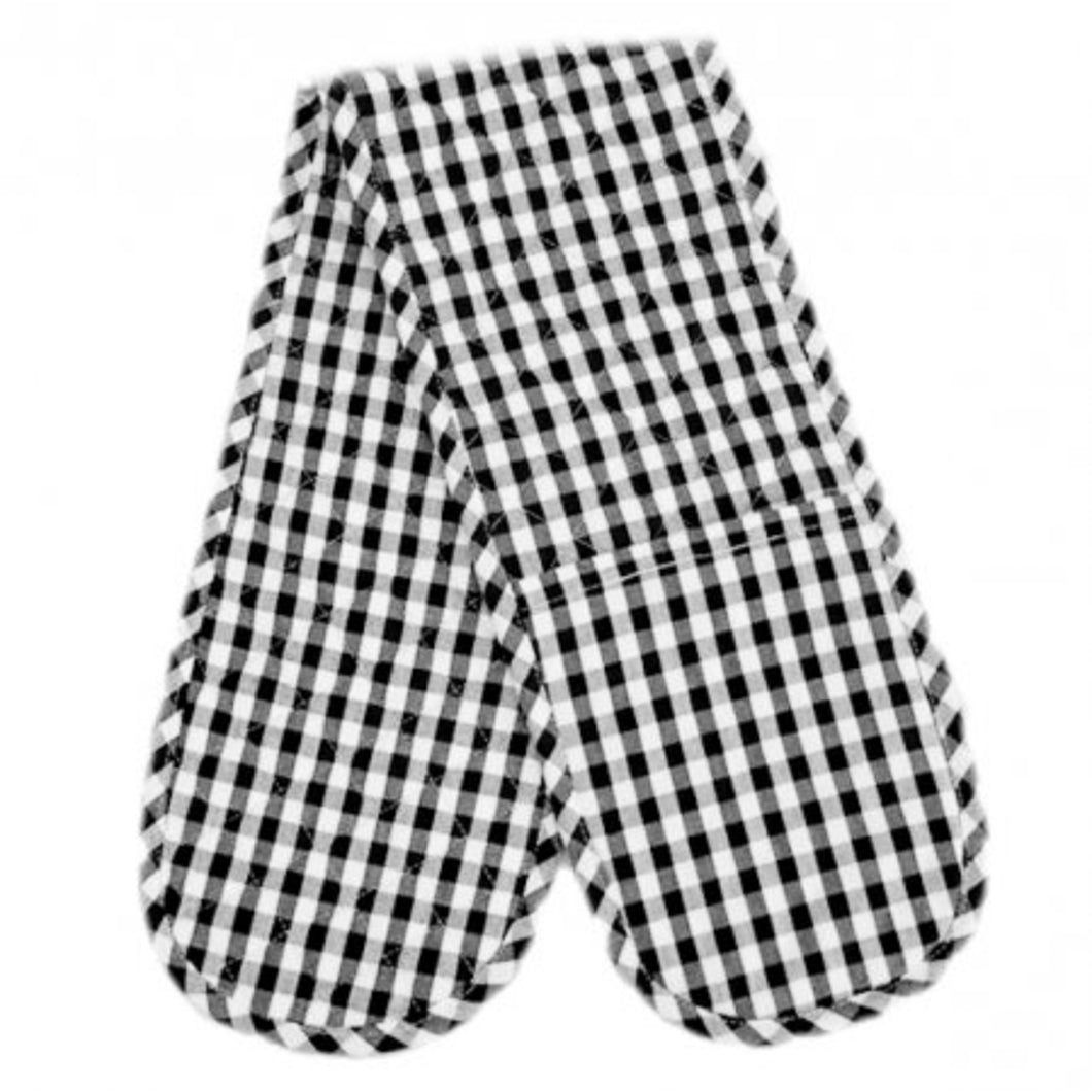 Gingham Check Double Oven Mitt - Black