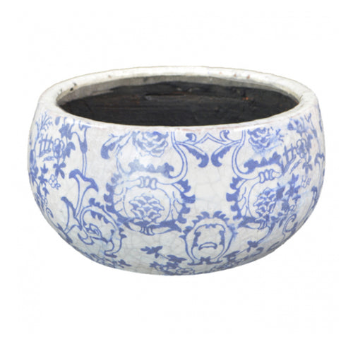 Low Round Vintage Planter 19cm - Blue & White Homewares nz