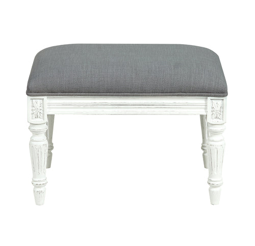 Provincial Pouffe Footstool - Soft Grey / White Legs Furniture nz