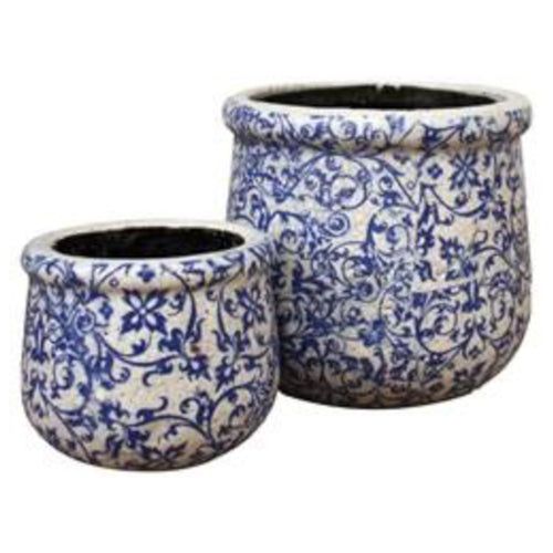 Blue Vine Ribbed Pot 18cm - Large  Homewares nz