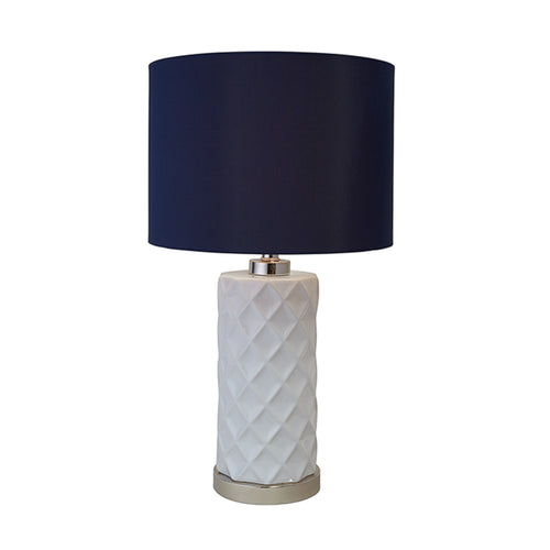 Hamptons White Lamp With Navy Shade Homewares nz