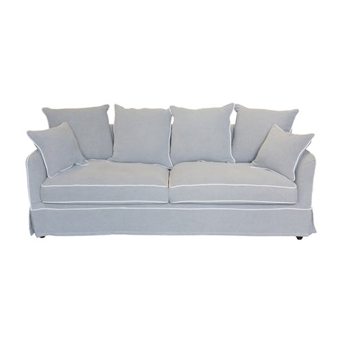 Cape Cod 3 Seater Sofa In Grey With White Piping (With Slip Cover)  Furniture nz