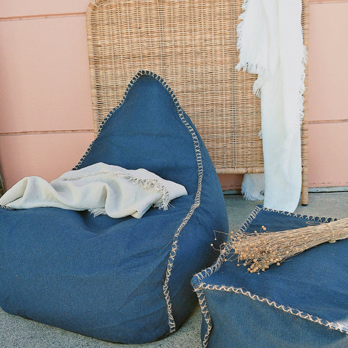 Bean Bag and Ottoman Set - Navy  Furniture nz