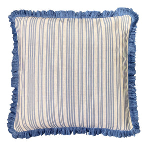 Stripe Cushion With Fringe 50x50cm - Blue