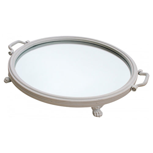 Round White Mirror Tray 40cm  Homewares nz