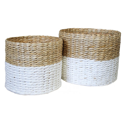 Woven Tub Basket In White & Natural - Large  Homewares nz