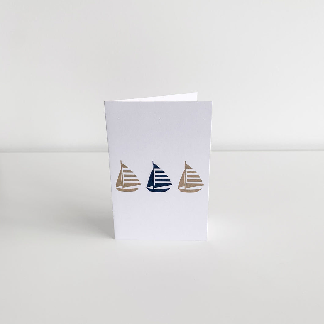 Mini Greeting Card - Three Yachts