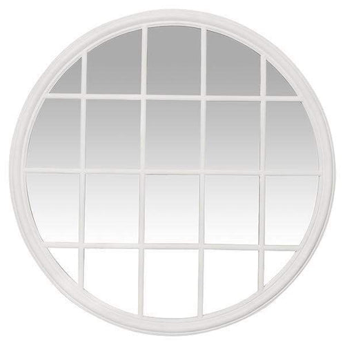 Hamptons Round Paned Mirror In White  Homewares nz