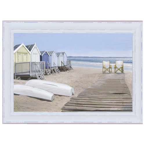 Hamptons Boat Houses Print In Natural Wood Frame  Homewares nz