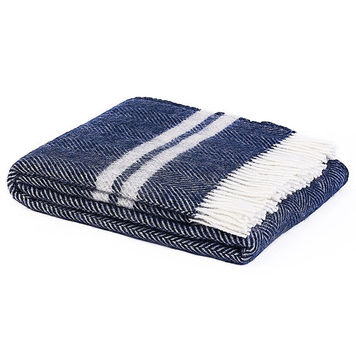 Scalloway NZ Lamb Wool Throw - Navy & White  Homewares nz