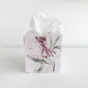 Square Wooden Vintage Peonies Tissue Box Homewares nz