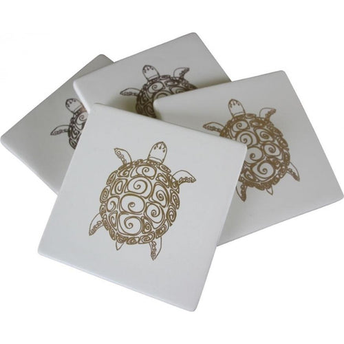 Set Of 4 Gold Turtle Coasters