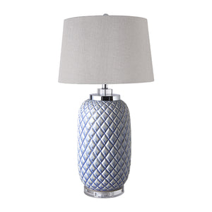 Blue Pine Lamp With Natural Linen Shade  Homewares nz