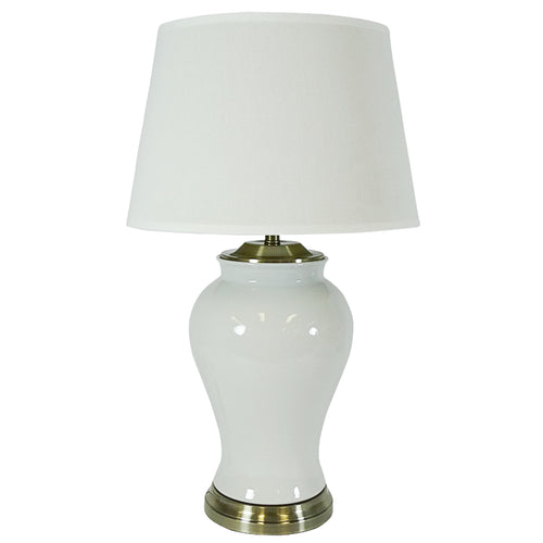 Freddie Table Lamp With White Shade 76cm - White & Gold Homewares nz