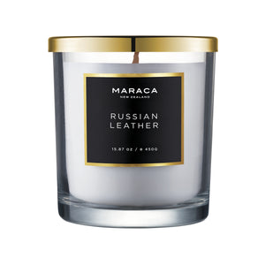 Maraca Russian Leather Luxury Candle 450g  Homewares nz