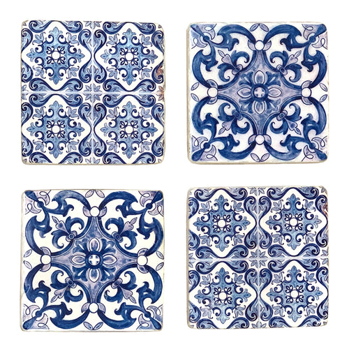 Set Of 4 Blue Tile Coasters