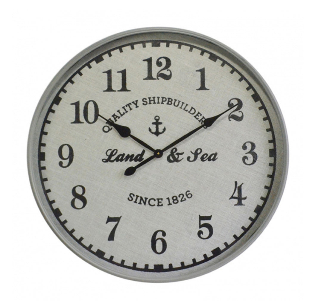 Land & Sea Nautical Wall Clock 80cm - Black & White Homewares nz