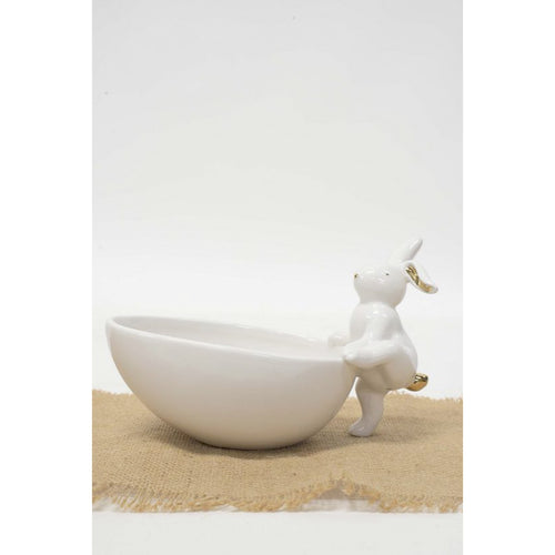 White Bowl With Climbing Rabbit Homewares nz