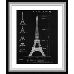 Architect Sketch Eiffel Print In Frame  Homewares nz