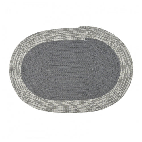 Oval Woven Placemat - Grey & White