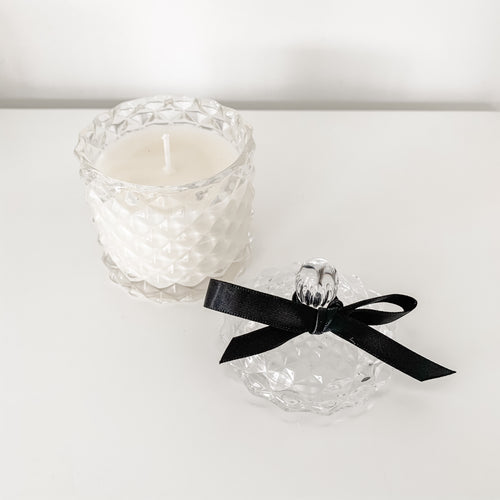 White Rose Candlette In Ornate Glass Jar 135g  Homewares nz