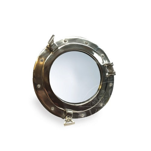 Nickel Finish Porthole Mirror 25cm
