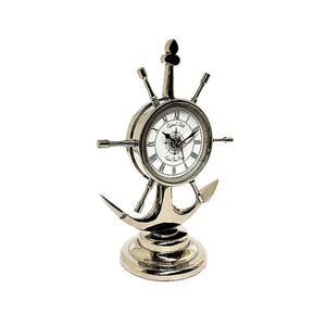 Anchor Table Clock In Nickel Finish 25cm