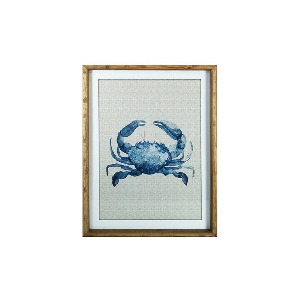Marine Crab Glass Print In Frame  Homewares nz