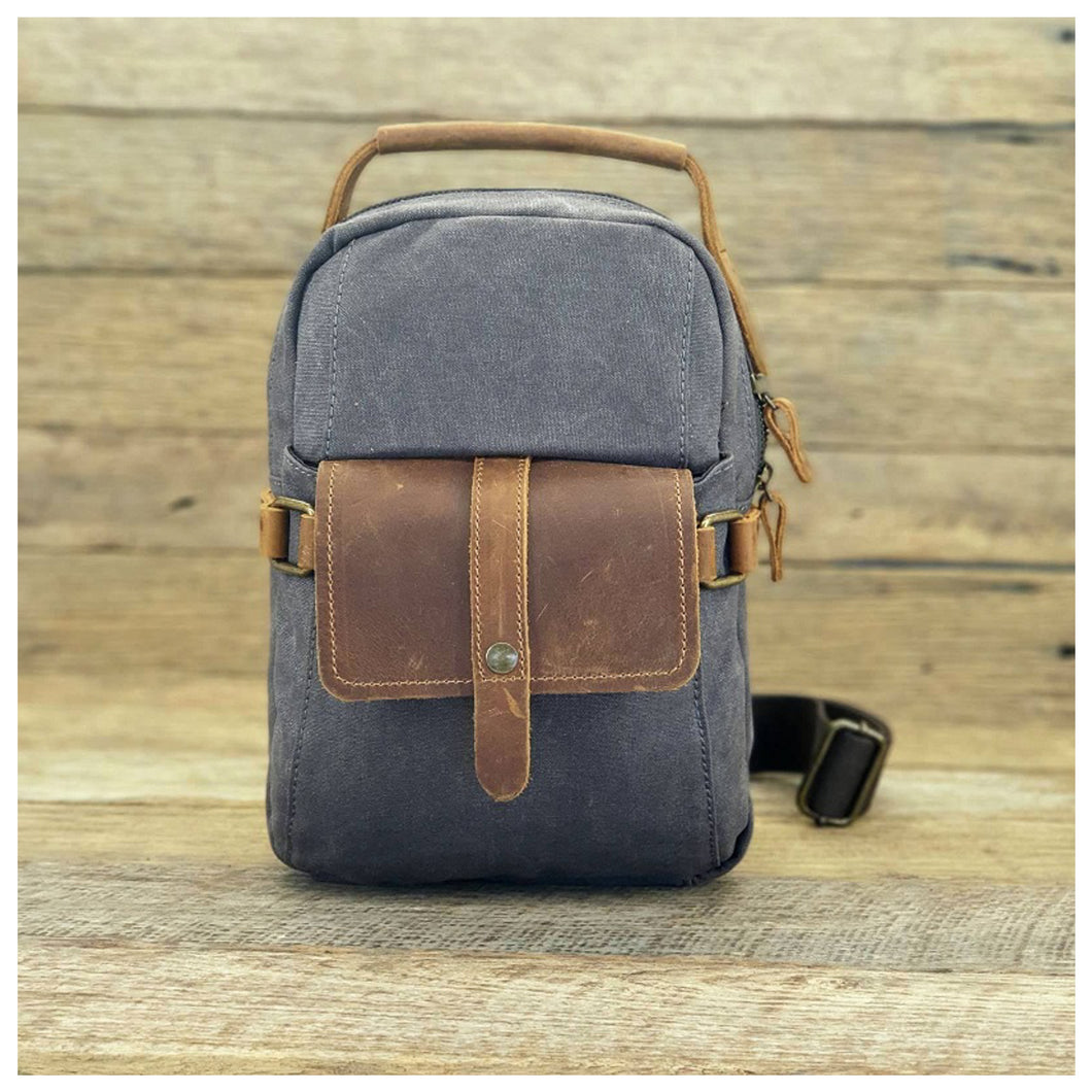 Biker Sling Cross Body Canvas & Leather Transit Bag - Grey
