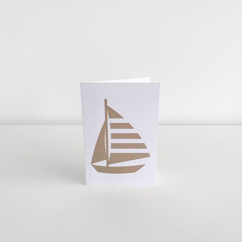 Mini Greeting Card - Gold Yacht