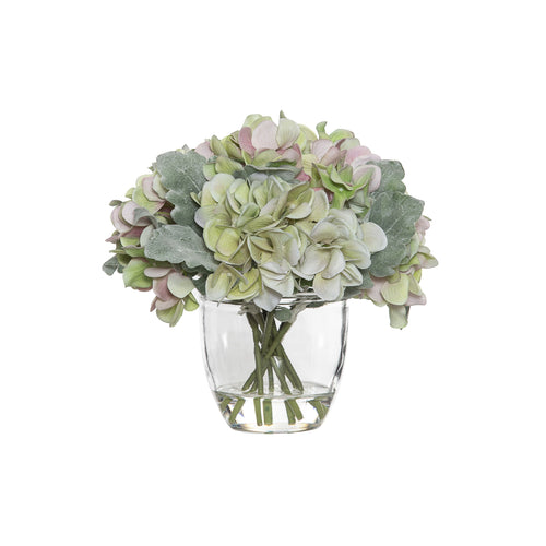 Hydrangea Bouquet In Glass Pot 22cm - Pink & Green