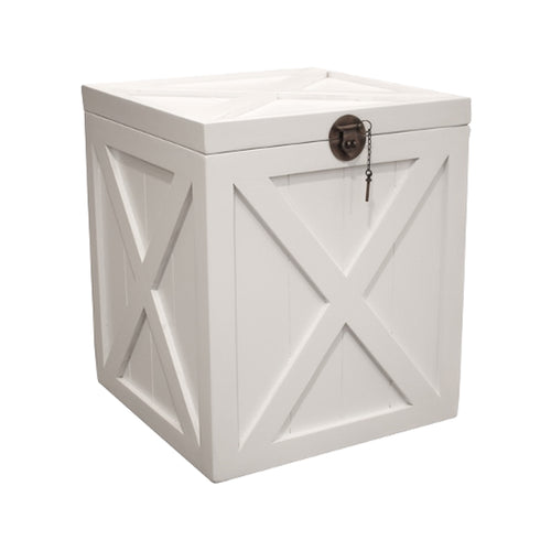 Bahamas Trunk Side Table - White  Furniture nz