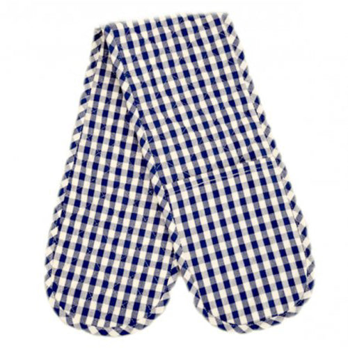 Gingham Check Double Oven Mitt - Blue & White Homewares nz