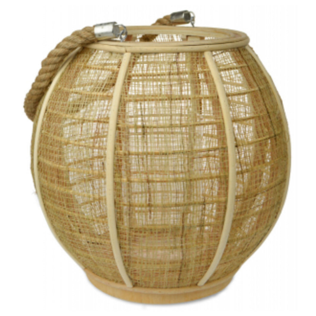 Natural Wood & Jute Lantern With Rope 28cm - Large