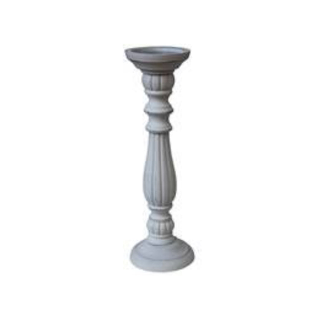 Candlestick White Washed 25cm - Small  Homewares nz
