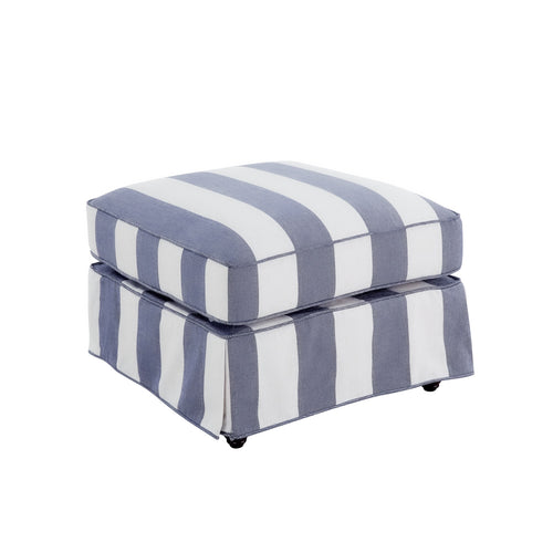 Cape Cod Ottoman In Blue & Off-White Stripe (With Slip Cover)