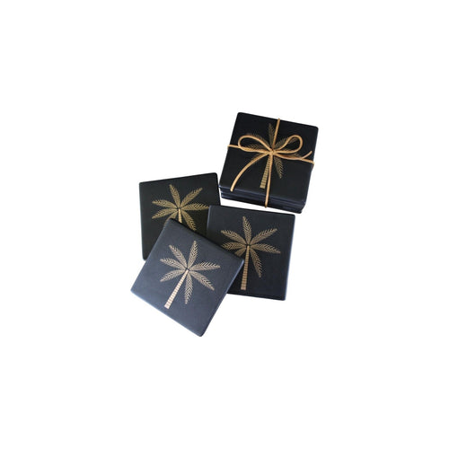 Set Of 4 Black Palm Coasters