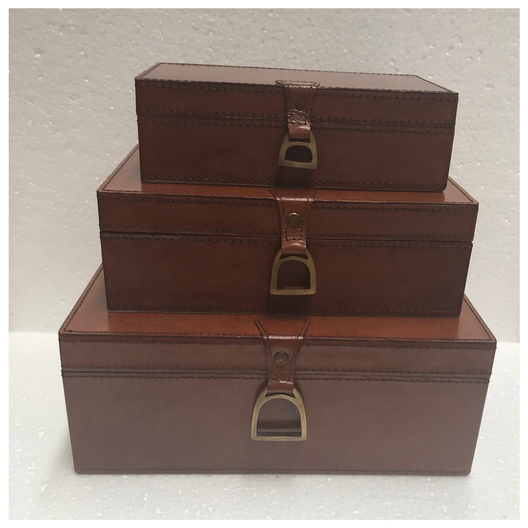 Leather Box With Stirrups 24cm - Tan