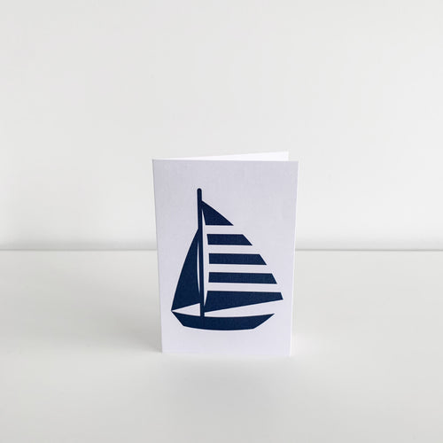 Mini Greeting Card - Navy Yacht