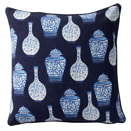 Ginger Jar Cushion 50x50cm - Navy