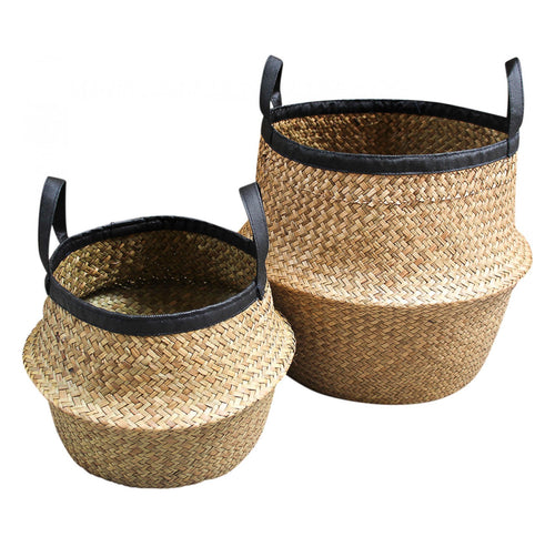 Belly Basket In Natural With Black Trim - Large Homewares nz