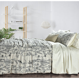 Forest Flowers Jacquard Cotton Duvet Set - Queen  Homewares nz