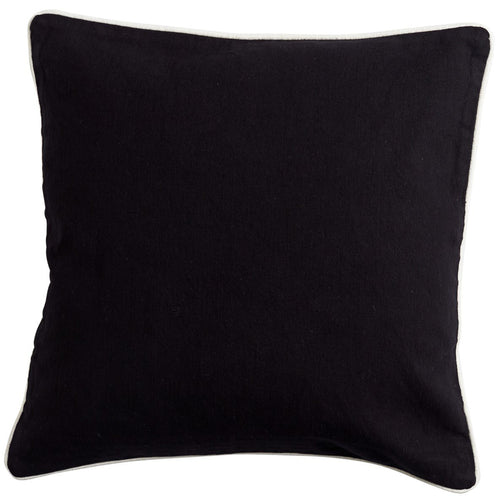 Black Cushion With White Piping 50x50cm