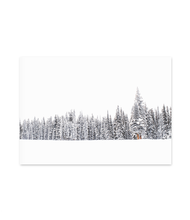 Load image into Gallery viewer, Pictured: winter scene of snow-covered pine trees