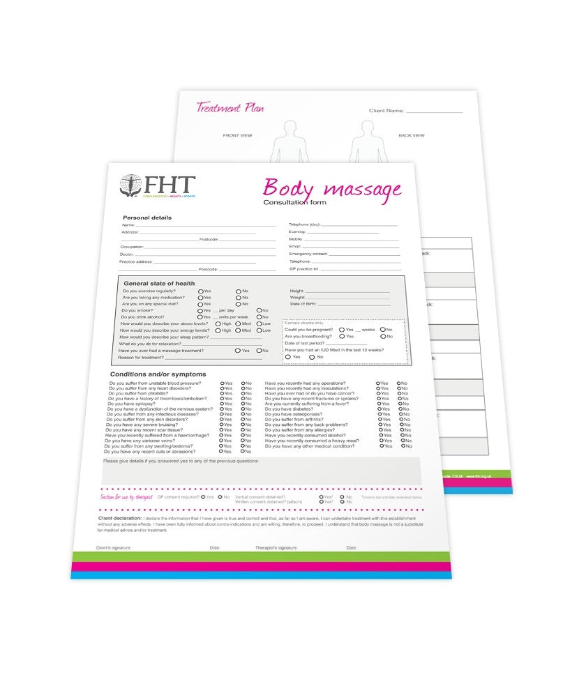 Image of FHT massage consultation forms.