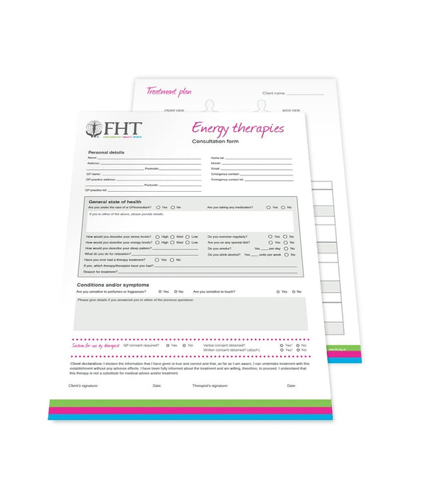 Image of FHT energy therapies consultation forms.