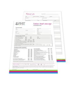 Image of FHT Indian head massage consultation forms.